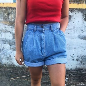 VINTAGE HIGH WAIST DENIM SHORTS